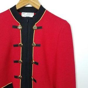 St. John Sweaters - St. John Red Black Zip Santana Cardigan Military